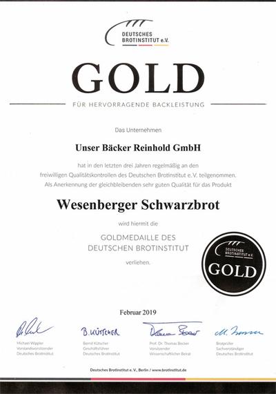 Goldmedaille für Wesenberger Schwarzbrot